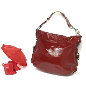 Coach Zoe Lg Hobo Burgundy Red Calfskin Bag 13x15